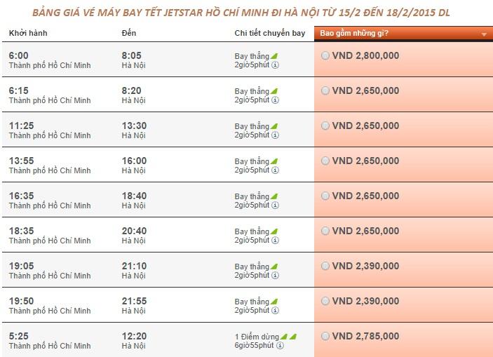Vé máy bay Jetstar đi Hà Nội Tét