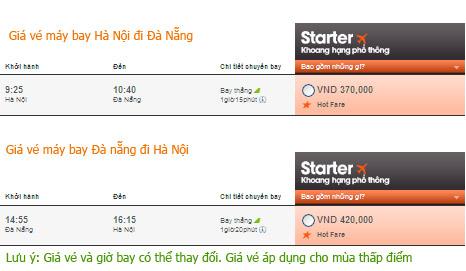 Vé máy bay Jetstar đi Đà nẵng