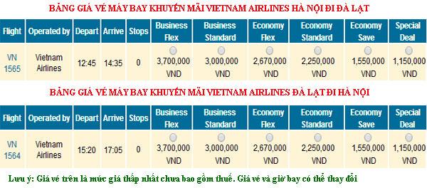Vé máy bay Hà nội đi Đà Lạt giá rẻ Vietnam Airlines