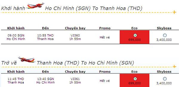 Mua vé máy bay giá rẻ đi Sao Vàng Thanh Hóa