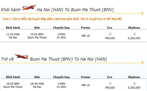 Vé máy bay giá rẻ Vietjet đi Buôn Ma Thuột