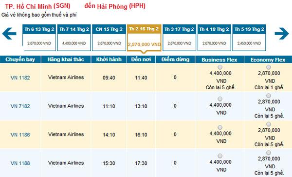 Vé máy bay Tết 2015 Tp HCM đi Hải Phòng