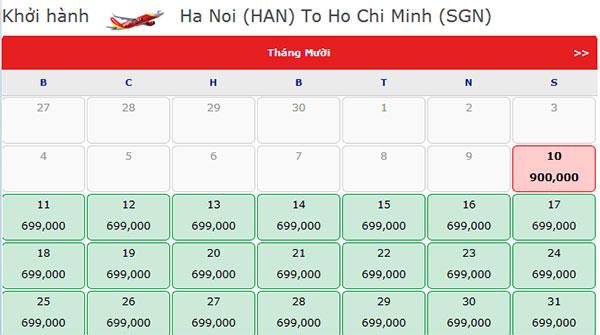Vé máy bay giá rẻ Vietjet Air đi Hồ Chí Minh tháng 10