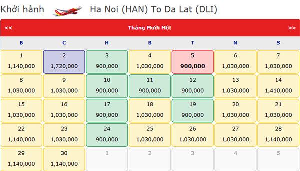 Đặt vé máy bay Hà nội Đà Lạt giá rẻ tháng 11