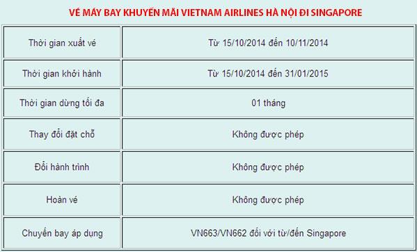 Vietnam airline khuyến mãi đi Singapore