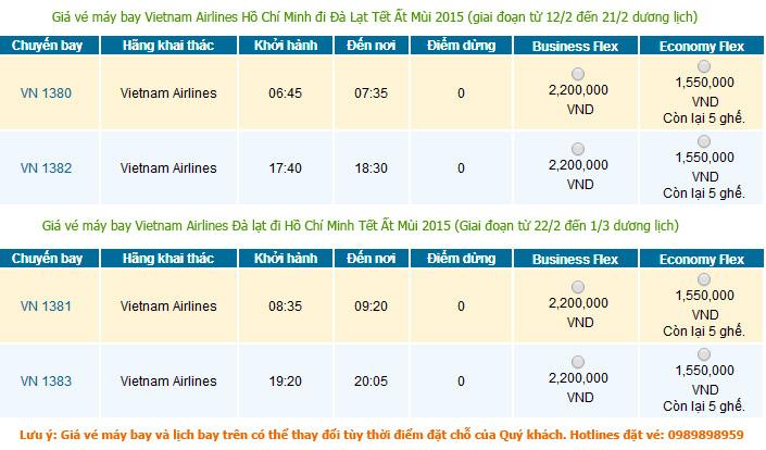 Vé máy bay Tết Hồ Chí Minh đi Đà lạt