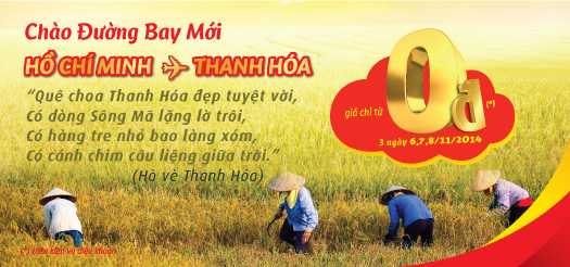 Vé máy bay khuyến mại 0 đồng đi Thanh Hóa