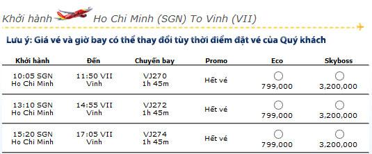 Mua vé máy bay giá rẻ tphcm đi vinh