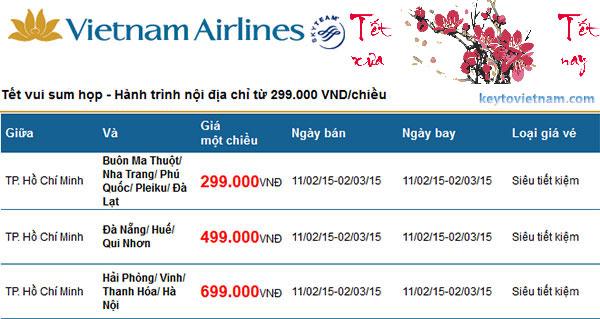 Mua vé máy bay khuyến mại Vietnam Airlines Tết 2015