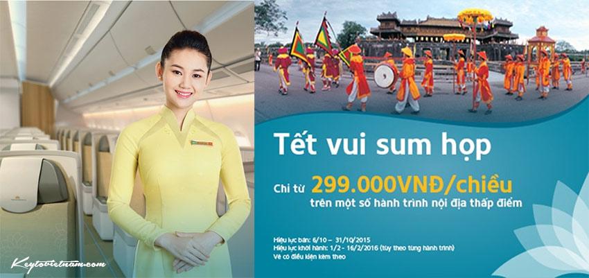 Vé máy bay khuyến mại Tết 2016 Vietnam Airlines