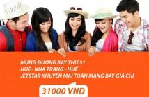 Vé máy bay khuyến mại 31000 đồng hãng Jetstar mừng đường bay mới HUế - Nha Trang